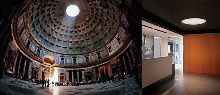 Pantheon (Marcus Agrippa, 2/ BC - 14 AD) / BIG ceiling light (design by Lievore Altherr Molina)