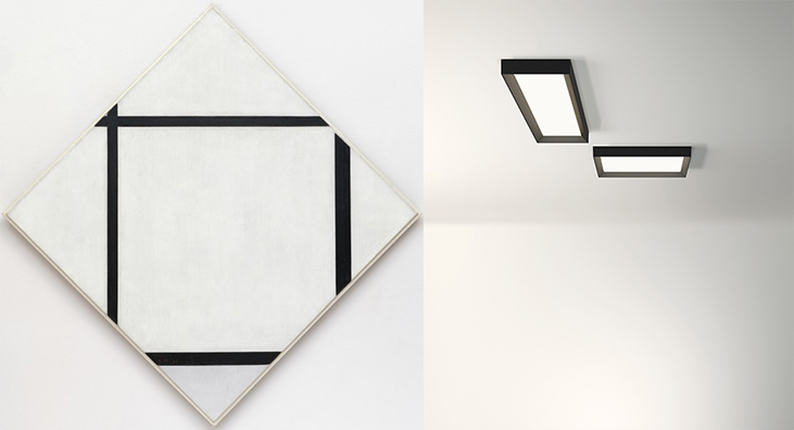 Tableau1: Lozenge with Four Lines and Gray (Mondrian, 1926) / lampada da soffitto UP (design di Ramos & Bassols)