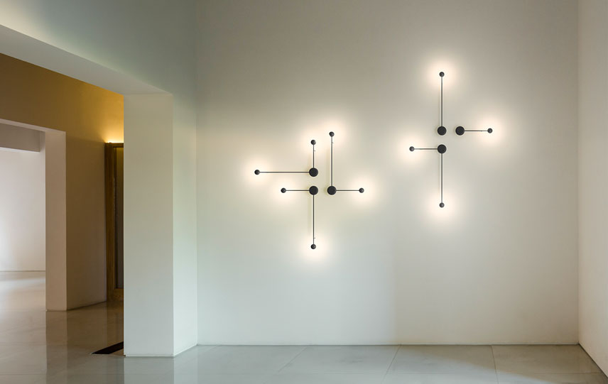 Designed By Ichiro Iwasaki For Vibia The Pin Wall Light Is Defined A Striking Interplay Of Geometric Forms Its Lean Lines Elegantly Extend Outward