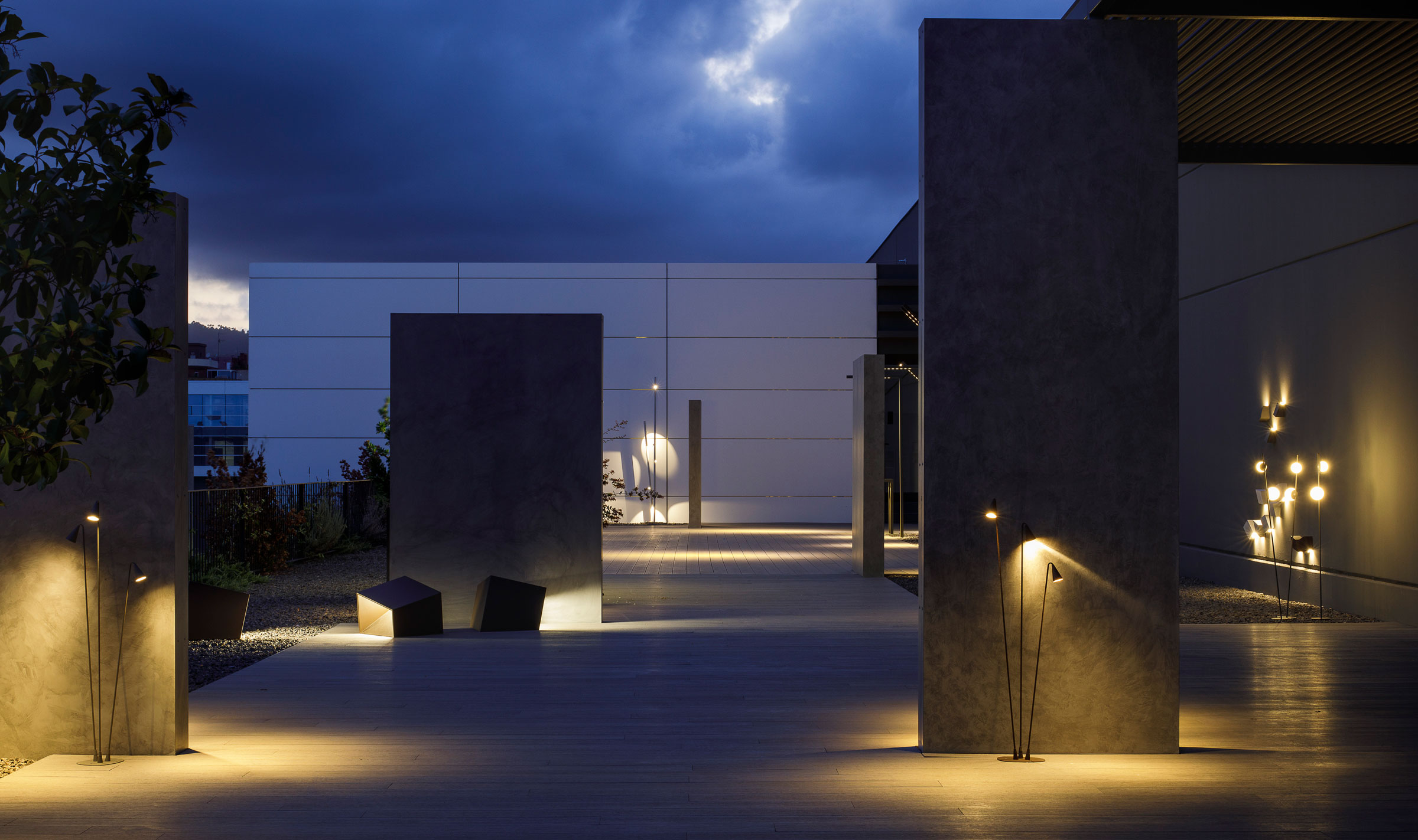 Vibia The Edit - Vibia Headquarters' Terraces: Display of Outdoor Lighting Collections - Brisa Bamboo Break